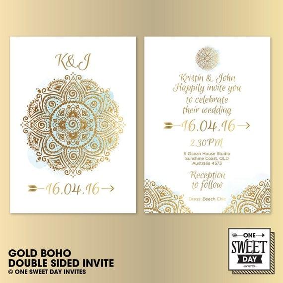 Wedding Invitation Printable Gold Boho Watercolor Boho