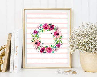 Wall Art, Floral Wreath, Floral Printable, Wall Art Print, Watercolor Art Printable, Floral Wreath Print, Floral Wall Decor, Home Wall Decor