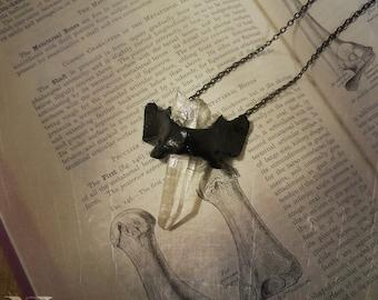 Bone + Crystal Necklace in Black, Oddities, Bone Jewelry, Bone Necklace, Quartz Necklace, Taxidermy, Vulture Culture, Oddities Necklace