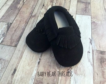 Black Suede Leather Baby Moccasins Fringe