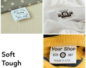 300 x Custom fabric labels - soft garment labels with FREE cutting - sew-in clothing labels, clothing tags