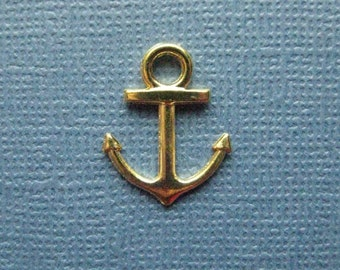 10 Anchor Charms - Anchor Pendants - Anchors - Nautical Charm - Gold Tone - 15mm x 13mm -- (N1-11008)