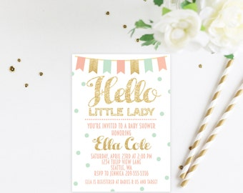 Hello Little Lady Baby Girl Shower Pink Gold and Mint Baby Shower Invitation