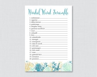 Nautical Bridal Shower Word Scramble - Printable Beach Themed Bridal Shower Game - Blue and Aqua Bridal Word Scramble Game 0012-B
