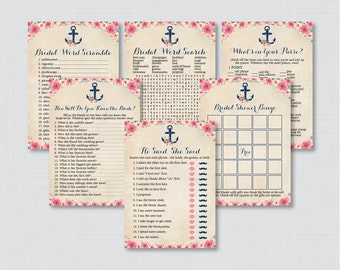 Nautical Bridal Shower Games Package with Six Games- Printable Navy Anchor Nautical Bridal Shower Games - He Said She Said, Bingo, etc 0020