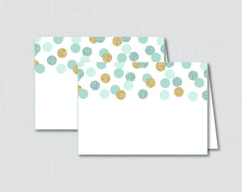 Printable Mint and Gold Bridal Shower Food Tent Cards - Mint and Gold Glitter Polka Dots Bridal Shower Food Labels OR Placecards - 0001-M