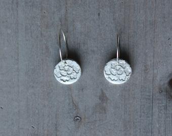 Fine silver pattern - sterling silver earrings