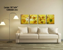 4 prints, 4 Piece Wall Art, Fall Leaves, Living Room Art, Large Art Prints, Art for Home, Yellow And Green Painting, Multi Panel Art