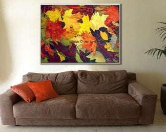 Canvas Wall Art, Contemporary Art Paintings on Canvas, Large Wall Art, Colorful Wall Art, Autumn Color Large Painting, Wall Art Canvas