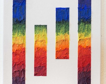 Abstract rainbow painting - acrylic with paper fiber