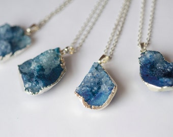 Silver Plated Quartz Crystal Necklace | Royal Blue
