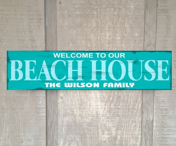 Welcome To Our Beach House Sign: Welcome To Our Beach House Personalized Custom Name Rustic