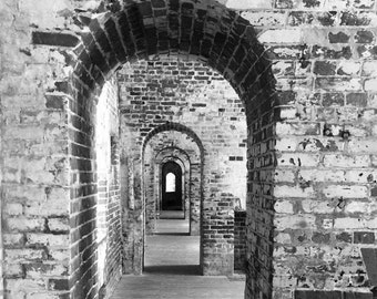 Tunnel Vision - Fort Macon, NC, Black and White Digital Photo, Instant Download