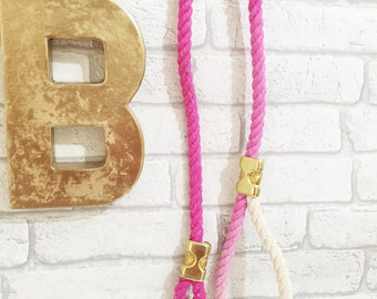 Large Ombre flamingo pink cotton rope lead - organic rope dog leash - twisted cotton rope dog lead