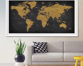 Push pin world travel map, Push pin travel map, World map, World Travel, Adventure Travel, Vacation Art, Family Travel Map, Travel gift (L7)