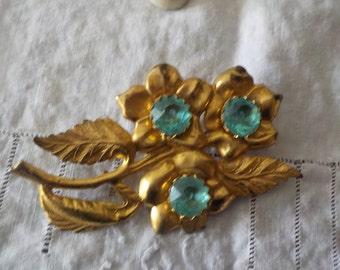 Vintage Brooch with Aqua Rhinestones