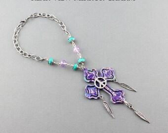Rear View Mirror Cross - Hippie Boho Car Mirror Cross Car Accessories -  Purple & Teal Car Mirror Hanger Cross With Dangling Feathers
