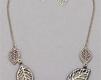 Leaf Links Necklace & Earrings set