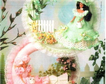 4 Styles! Fashion Doll Garden Party Wreaths, Crocheted Spring decor theme doll dress pattern, fits Barbie dolls. Vintage Annie's Attic 87D76