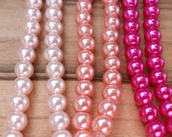 Pink Glass Pearls, Pink pearls Vintage Rose, Bright Pink, Hot Pink, multiple sizes available, 4mm, 6mm, 8mm, 10mm, 12mm, pinks, pink beads