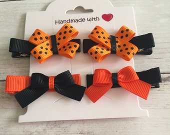Halloween Baby/Toddler Barrettes, Baby Hair Clips for Halloween, Infant Hair Clips, Toddler Hair Clips, Baby Barrettes, No-Slip Hair