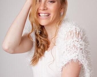 White shrug, bridal bolero, hand knit sweater, shoulder coverup, fluffy loose fit shrug, short sleeve bolero, wedding jacket, outerwear