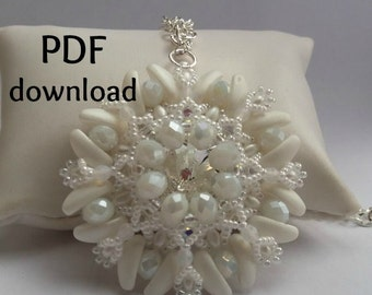Tutorial PDF, pendant Queen, superduo pendant, chilli pendant, pattern PDF, pattern bijoux, beading tutorial, beading pattern