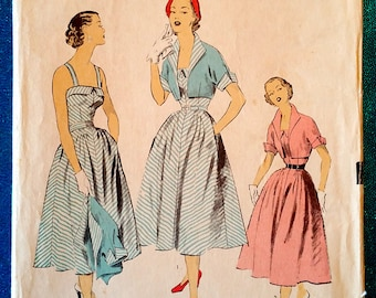 "Vintage 1950's dress and bolero jacket sewing pattern - Advance 5781 - size 12 (30"" bust, 25"" waist, 33"" hip) - around 1951"