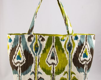 Shopping bag, Market bag, Tote bag, Turquoise, Green, Brown