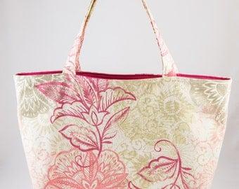 Shopping bag, Market bag, Tote bag, Floral, Pink, Creme