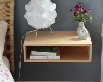 Modern Nightstand / Mid Century Modern Floating Bedside Table in Solid Maple