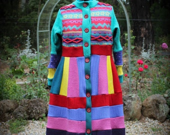 Up-cycled Recycled  Woollen Sweater Coat Katwise Inspired
