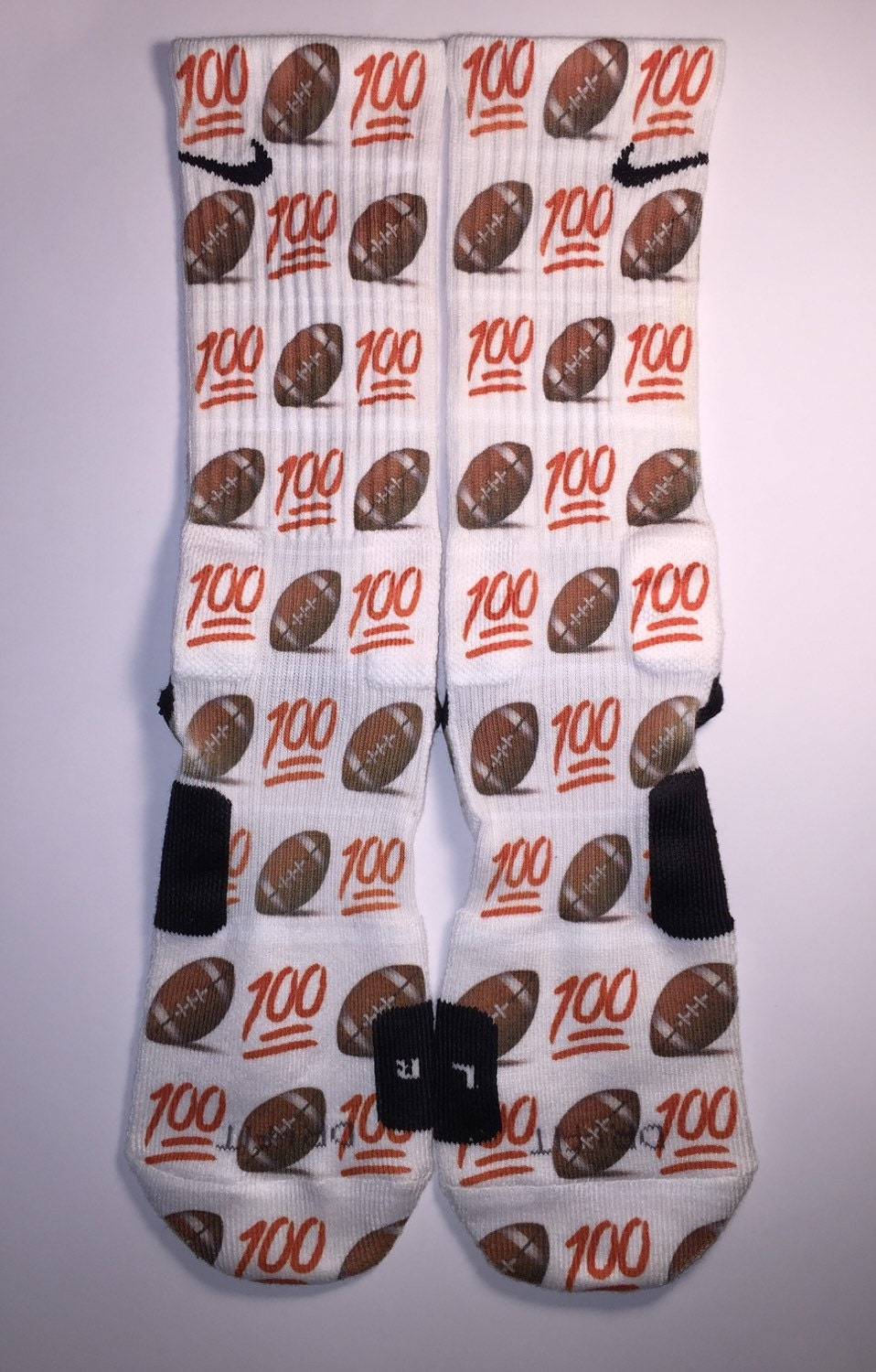 emoji 100 football socks