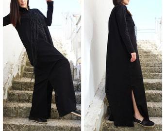 Linen Dress/ Summer Dress/ Long Linen Dress/ Linen Kimono Dress/ Black Dress/ Elegant Dress/ Loose Fitting Linen / by Fraktura D0033