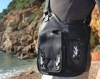 leather utility bag/ leather messenger bag/Burning Man Bag