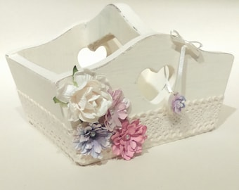 Shabby Chic Wooden Trug Box With Lace and Pastel Flowers