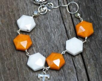 Tennessee Vols Bracelet, Tennessee Bracelet, Orange Glass Bracelet, Volcano Glass Bracelet, Orange Glass Bracelet, Vols Jewelry