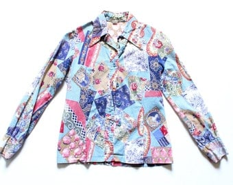 Retro 70s Long Sleeve Button Up Shirt Patchwork Quilt Blouse Hippie Hipster Boho Top