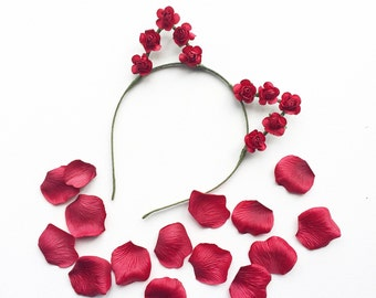Red Rose Kitty Crown Cat Ears Headband