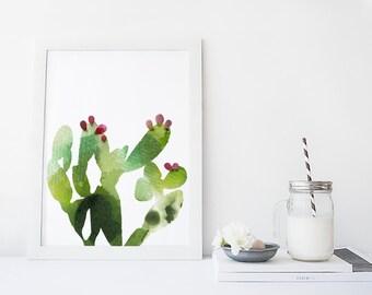 Pear cactus art print, watercolor cactus print, modern contemporary decor, home wall art, apartment decor, poster, succulent art, garden