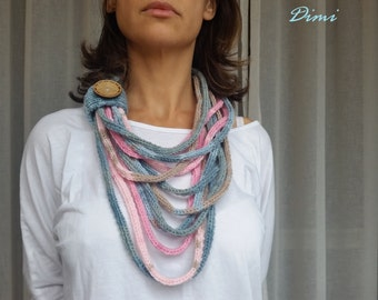 Infinity Scarf, Neckwarmer, Knitted Necklace, Accessory, Handmade, Women's, Multicolor, Boutique, Unique,