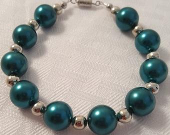Blue Pearl Bracelet - Dark Blue Pearl Bracelet - Pearl Bracelet - Women's Blue Bracelet - Women's Pearl Bracelet - Women's Bracelet - Pearls