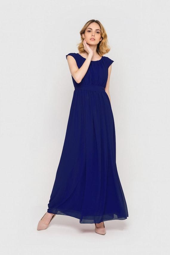 Cobalt blue chiffon dress Long summer dress by ...