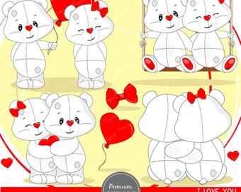Valentine clipart, Teddy bear clipart, Teddy bear, Valentines day, White teddy clipart, Valentine, Love clipart - SEA130