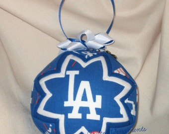 LA DODGERS QUILTED Ornament Made From Dodger Fabric, Dodgers, Los Angeles Dodgers, Quilted Ornaments, Sports Ornaments, Baseball Ornaments