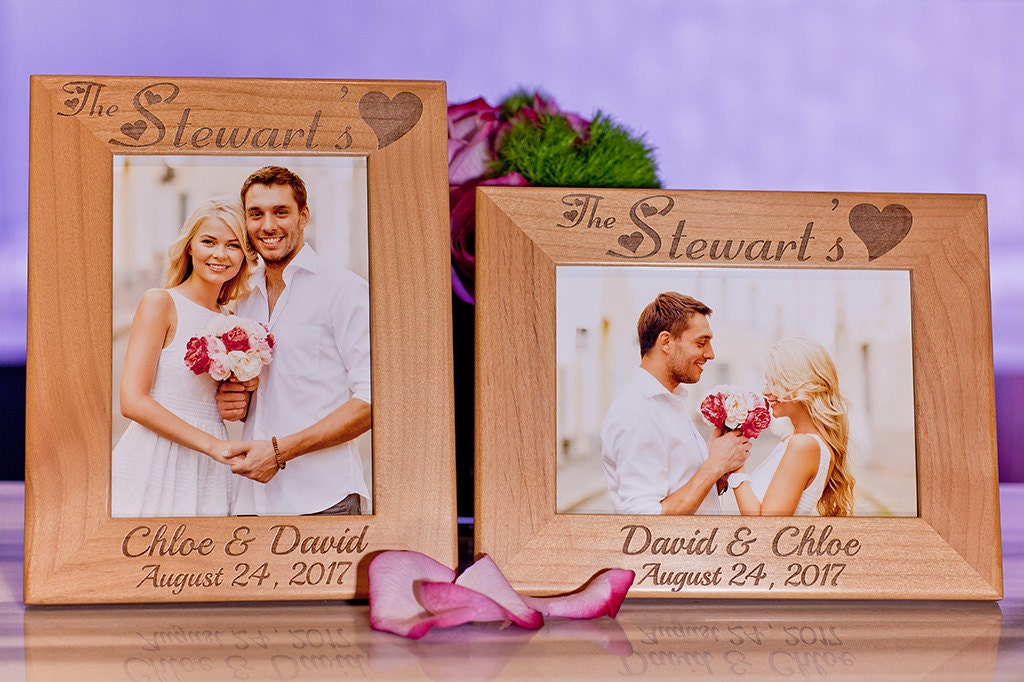 Wedding Picture Frame Custom Engraved Wood Family Gift for
