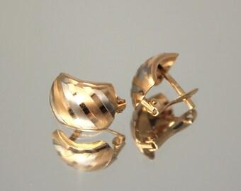 Pattern earrings, Geometric earrings, Fashion earrings, Modern earrings, Gold 14k earrings, Unique earrings, Womans earrings