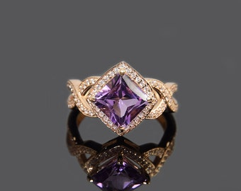 Amethyst ring gold, Art deco gold ring, Unique gold ring, Engagement ring, 14k amethyst ring, Purple stone ring, February birthstone