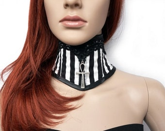Neck corset with stripes and Ankh