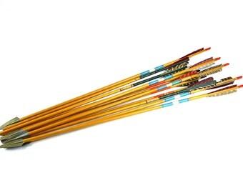 Vintage Arrows ~ Lot of 12 ~ Painted Wooden Arrows ~ Archery